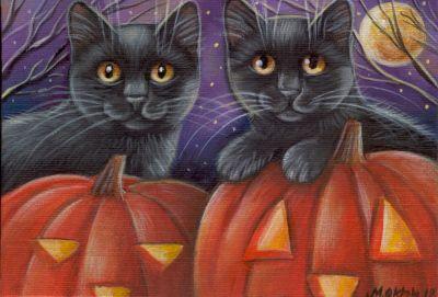 Black Kitties - Halloween Painting
