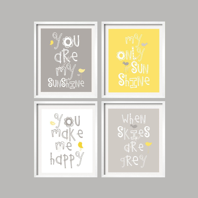 Sale Yellow And Gray Wall Art Nursery Decor Prints You Are My Sunshine 4 Prints 8x10 Baby Shower Art Wall Kids Nursery Decor Prints Elephant Nursery Decor
