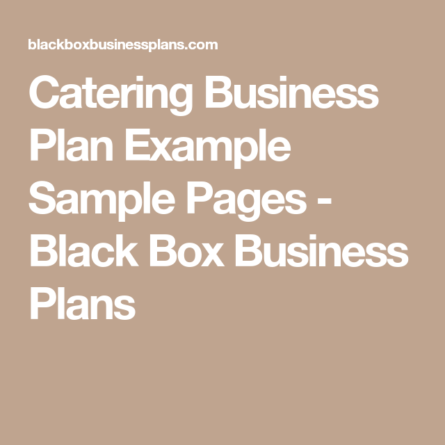 Catering Business Plan Example Sample Pages  Black Box Business