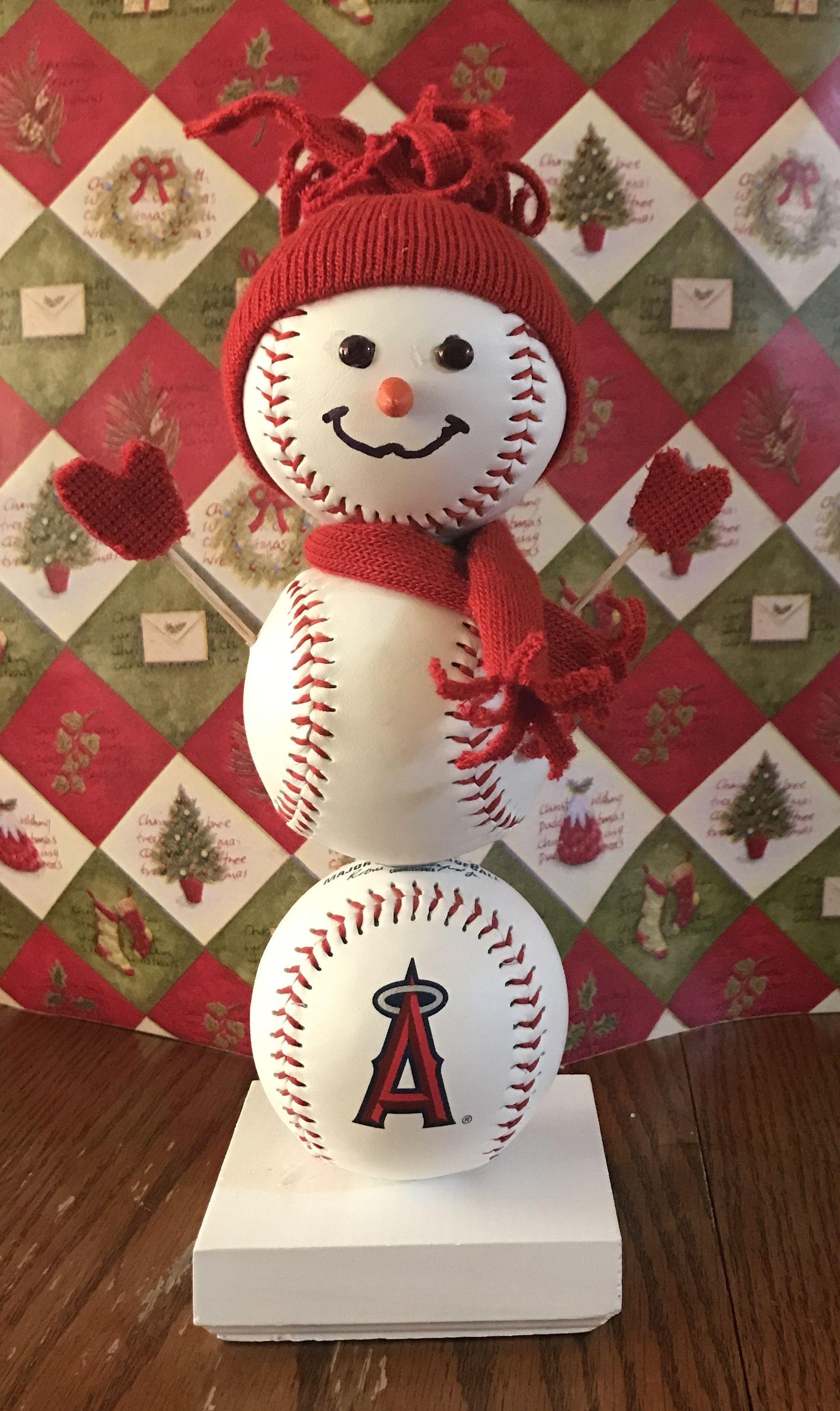 Angels Baseball Snowman Snowman Angels Laangels Baseball Christmas Tree Baseball Christmas Christmas Diy