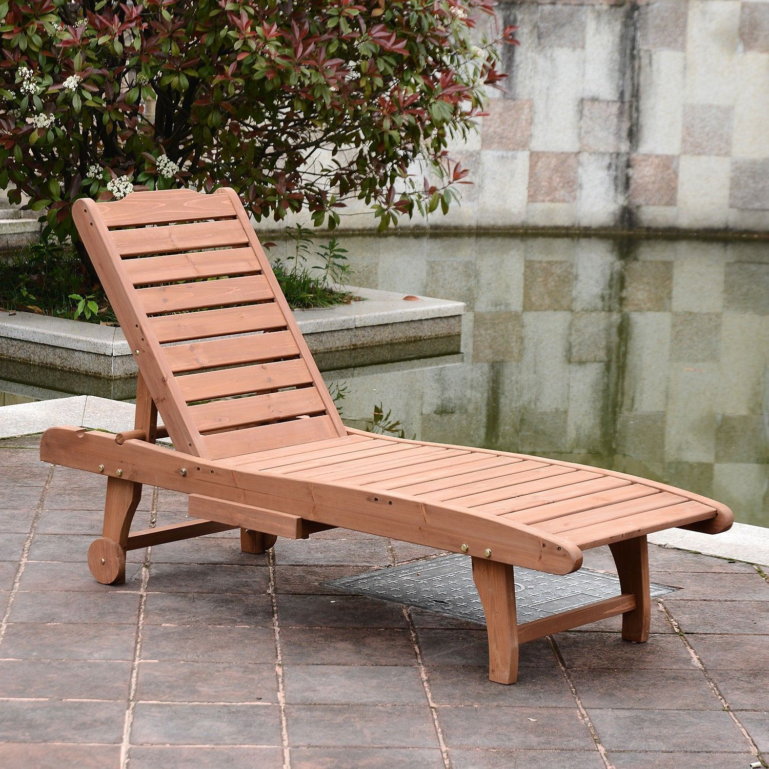 Wooden Wheeled Outdoor Reclining Chaise Lounge Patio Pool Chair