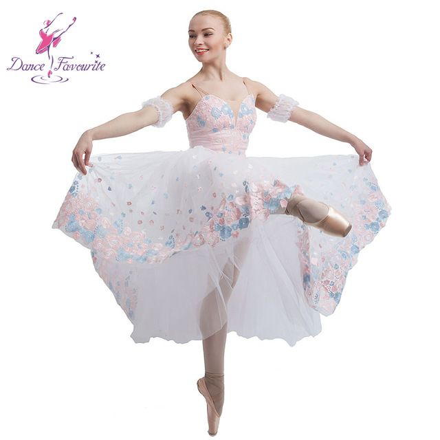 2016 Adult White Pink Giselle Ballet Dance Tutu Dress Professional
