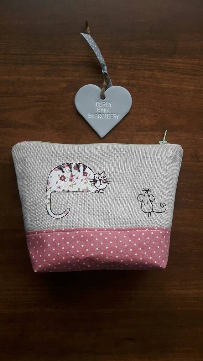 Cat and mouse applique make up bag using machine free- motion embroidery, Toiletry bag, Zip-Pouch, wash bag, cosmetic case GBP9.00 by CurlyEmmaEmbroidery on Etsy