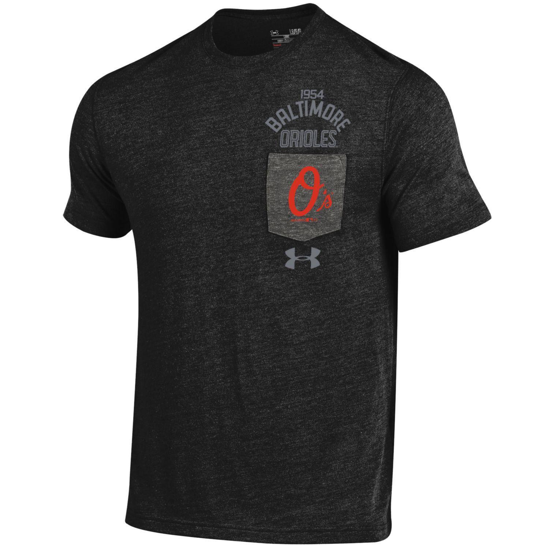 Mlb Baltimore Orioles Under Armour Tri Blend Pocket Performance T Shirt Black Mens Tops Black Shirt Baltimore Orioles