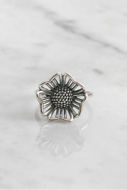 925 sterling silver Daisy flower Statement ring