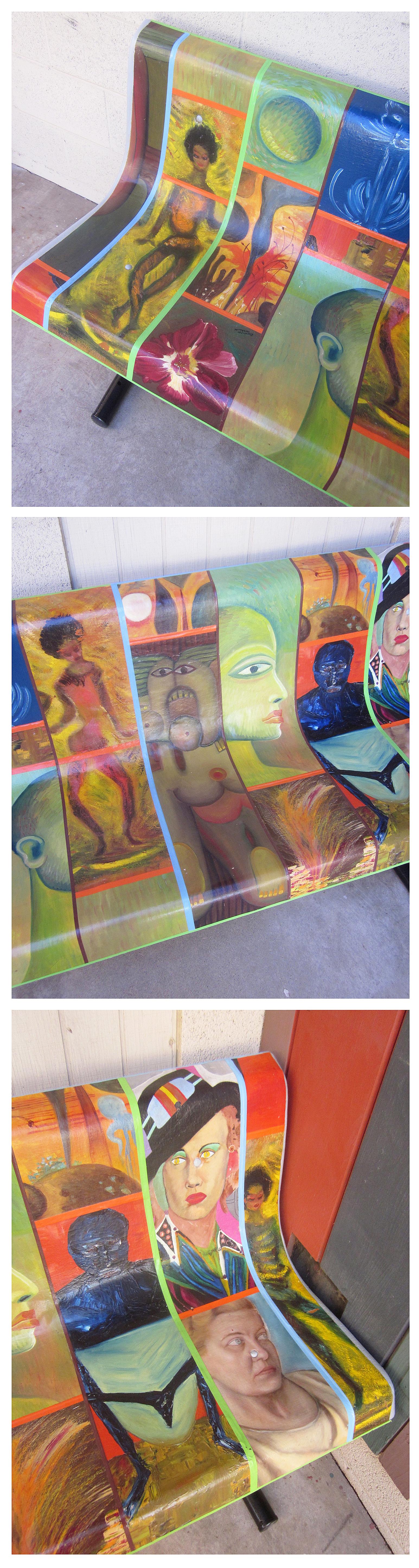 Flea market paintings into garden bench ... rancho reubidoux