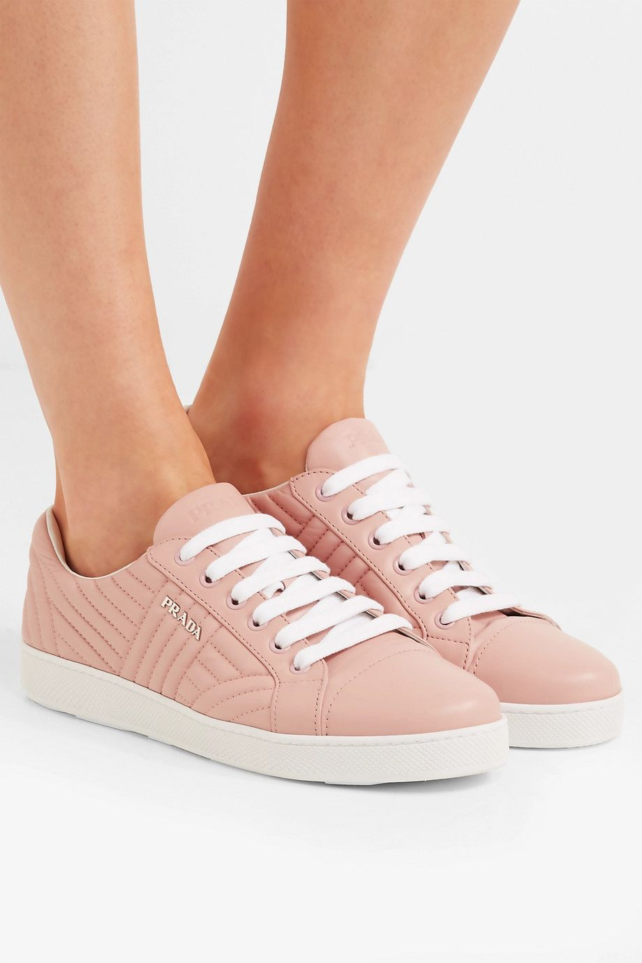 Sneakers for Women On Sale, Peach, Leather, 2017, 2.5 Prada