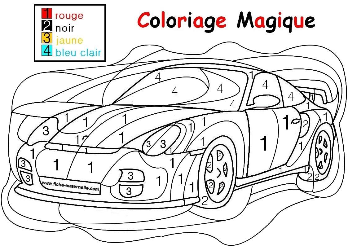 Coloriage Magique Pour Les Plus Petits Une Auto Coloriage Magique Coloriage Magique A Imprimer Coloriage Numerote