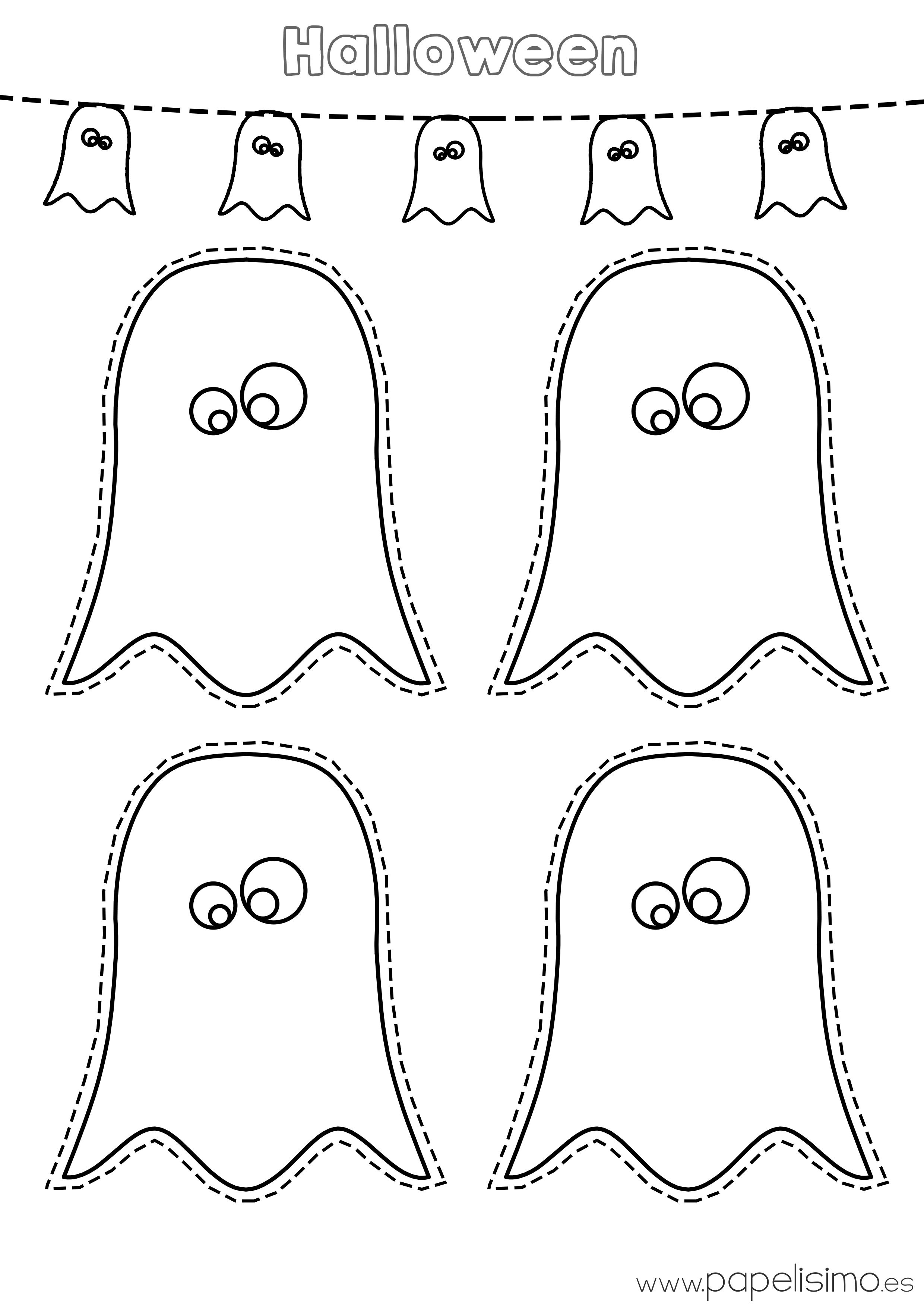 Dibujos De Fantasmas Halloween Para Imprimir Papelisimo Fantasmas De Halloween Plantillas De Halloween Dibujos De Halloween