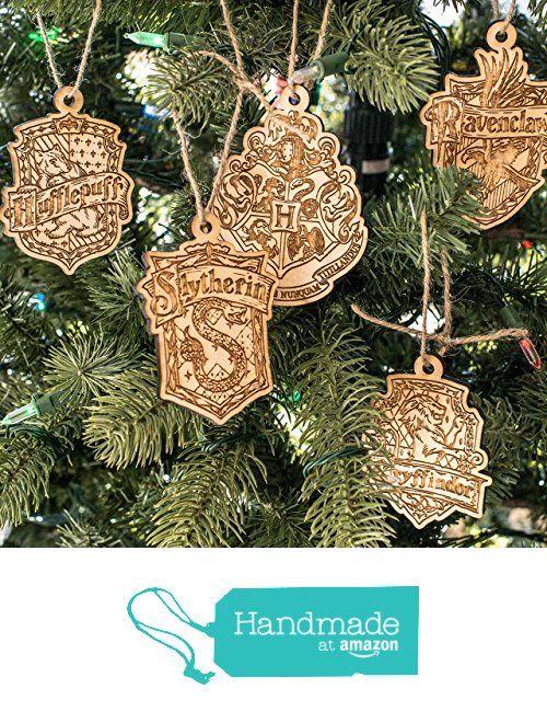 Ornament - Hogwarts Set of 5 - Raw Wood 4x3in from Hip Flask Plus https://www.amazon.com/dp/B01MXO5LPT/ref=hnd_sw_r_pi_dp_ns4AybPG5G7T1 #handmadeatamazon
