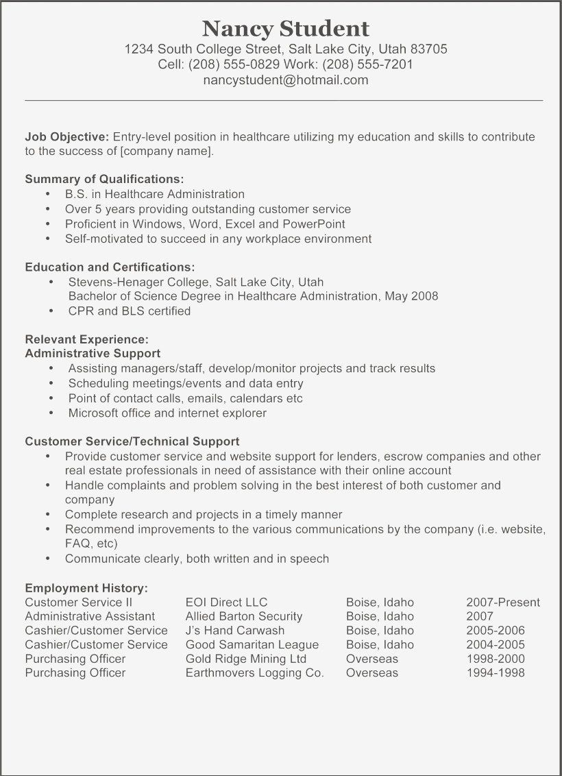 Business Administration Resume Samples Best Of Administrative Resume Objective New Resume Objective Samples Resume Skills Student Resume Resume Examples