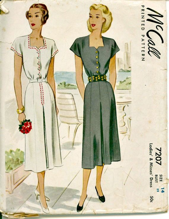 3d1ce28b3db9 1940s Summer Day Dress Pattern McCall 7207 by ShellMakeYouFlip ...