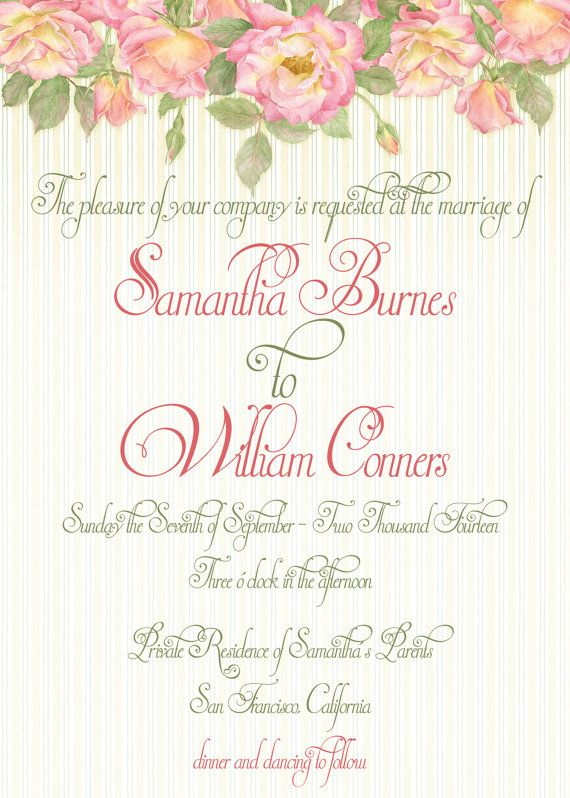 Garden Roses Wedding Invitation Print at Home DIY Template Wedding - invitation information template