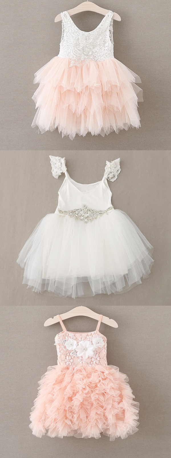 d4e1d936315f Flower Girl Dresses for toddlers girls Pink White Lace Chiffon Tutu ...