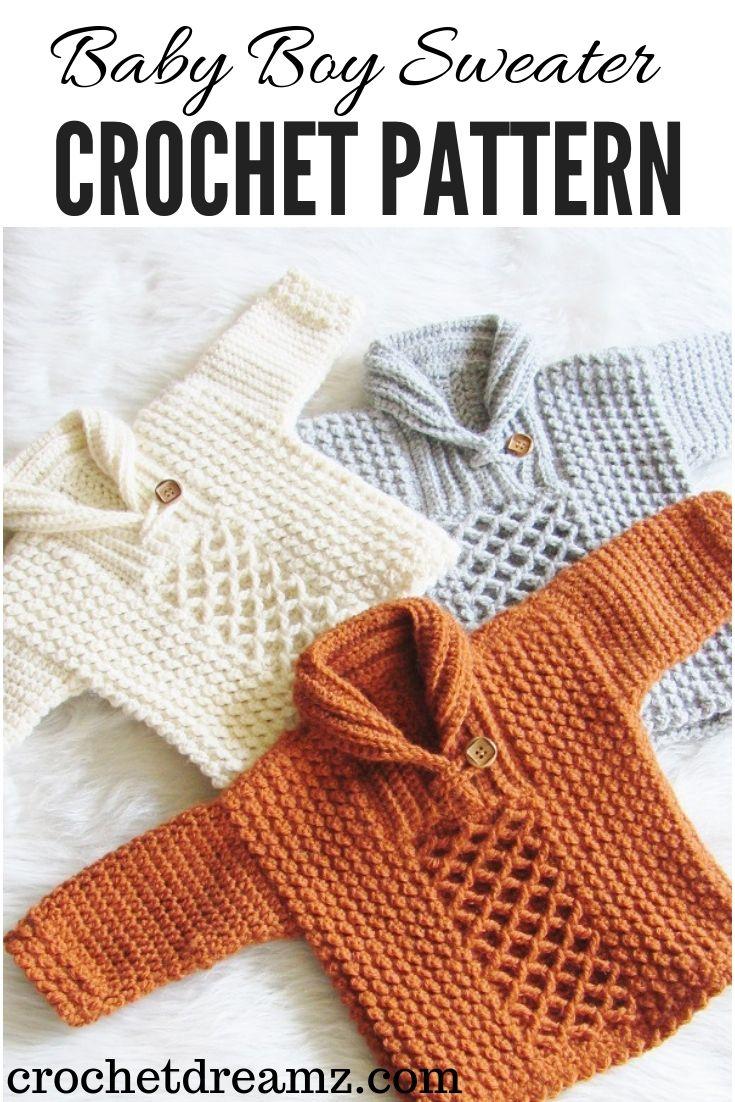 Textured Crochet Baby Boy Sweater | tejidos niños | Μωρά, Πλεκτά y ...