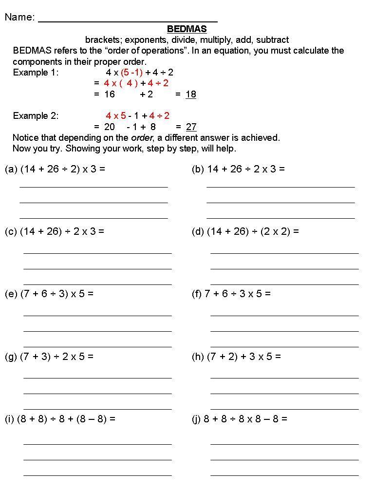 8 Math Worksheets Grade 6 Order Of Operations Math Worksheets Grade 6 Math Worksheets Bedmas Algebra worksheets grade 6