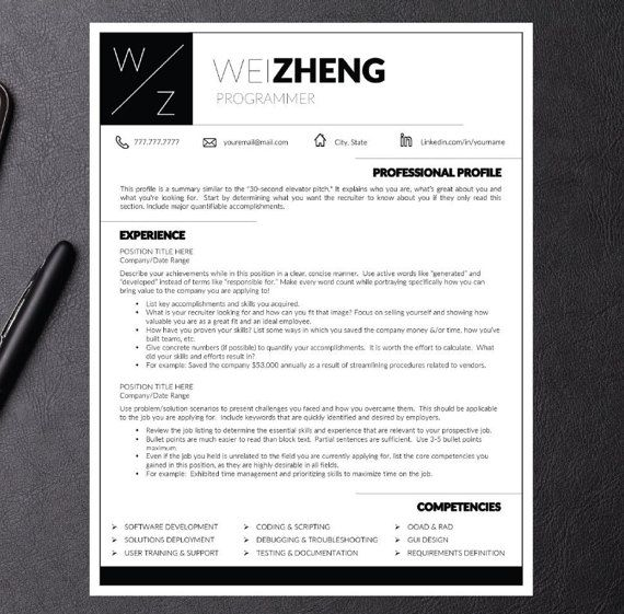 Modern Resume Template for Word and Pages ( 1, 2, 3 page Resumes