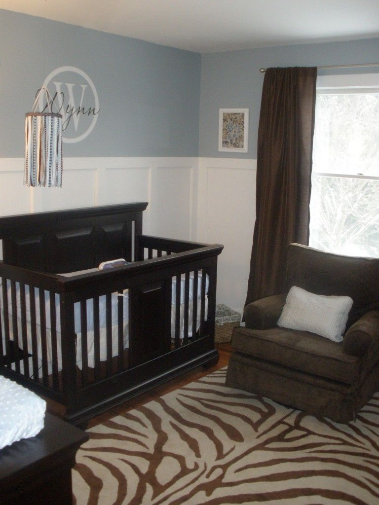 Bedroom paint ideas blue and brown - Blue Nursery For A Baby Girl