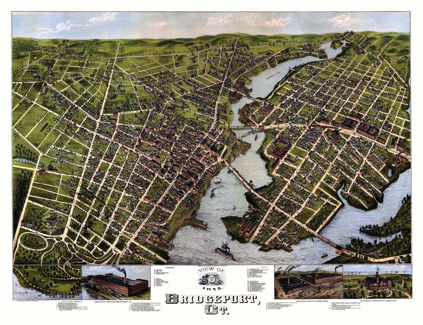 Old Map of Bridgeport Connecticut 1875 Fairfield