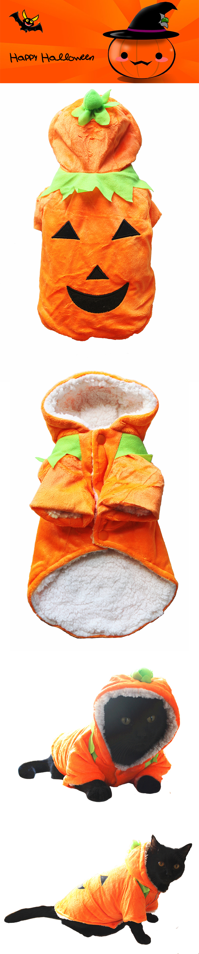 Manteau déguisement citrouille de Halloween pour chien