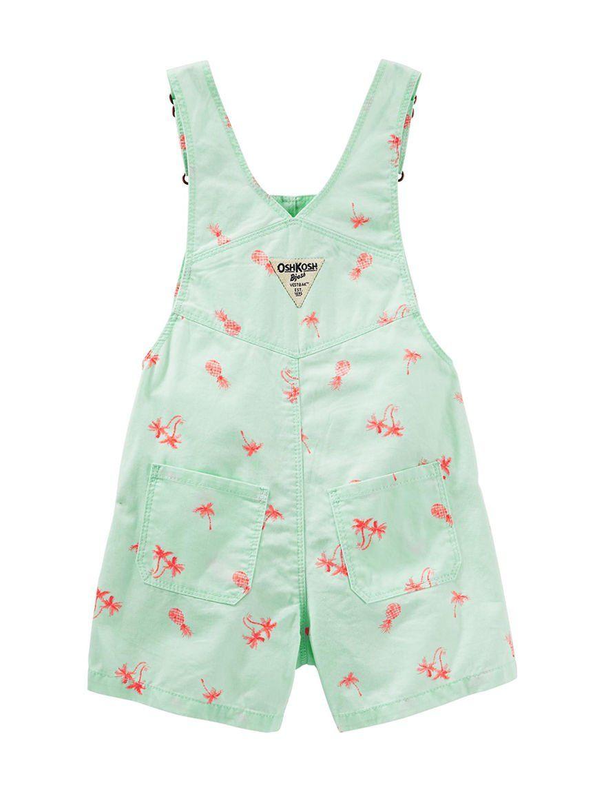 Lime OshKosh Bgosh Toddler Pineapple /& Palm Tree Shortalls