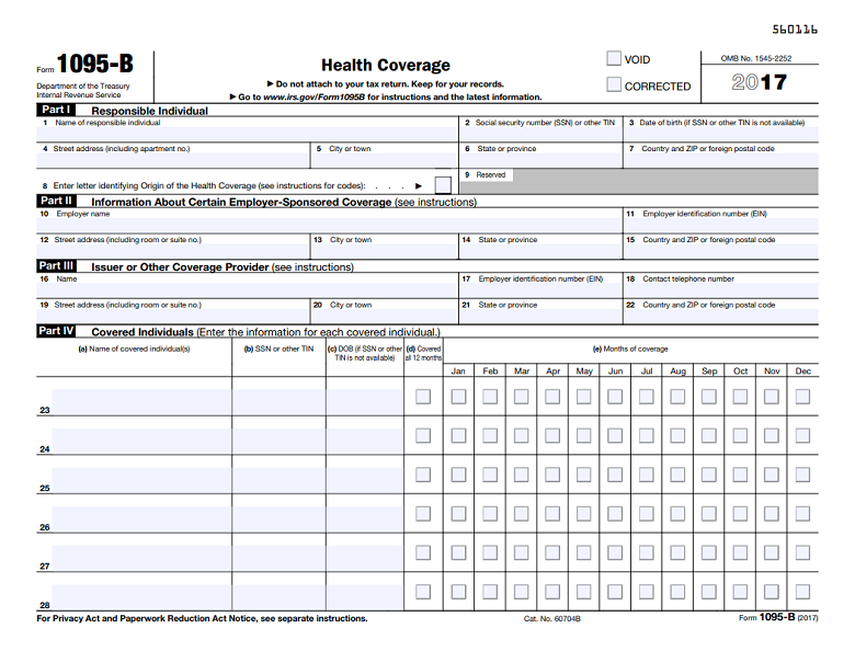 Obamacare Tax Forms 1095 B And 1095 C 101 Moneytips Tax Forms