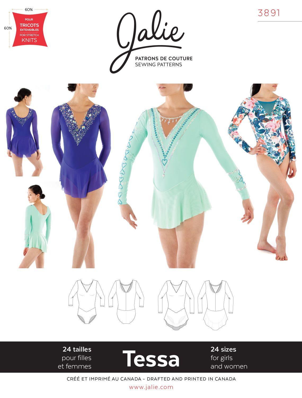 Jalie Gymnastics Leotard and Dresses Figure Skating Costume Sewing Pattern 3136