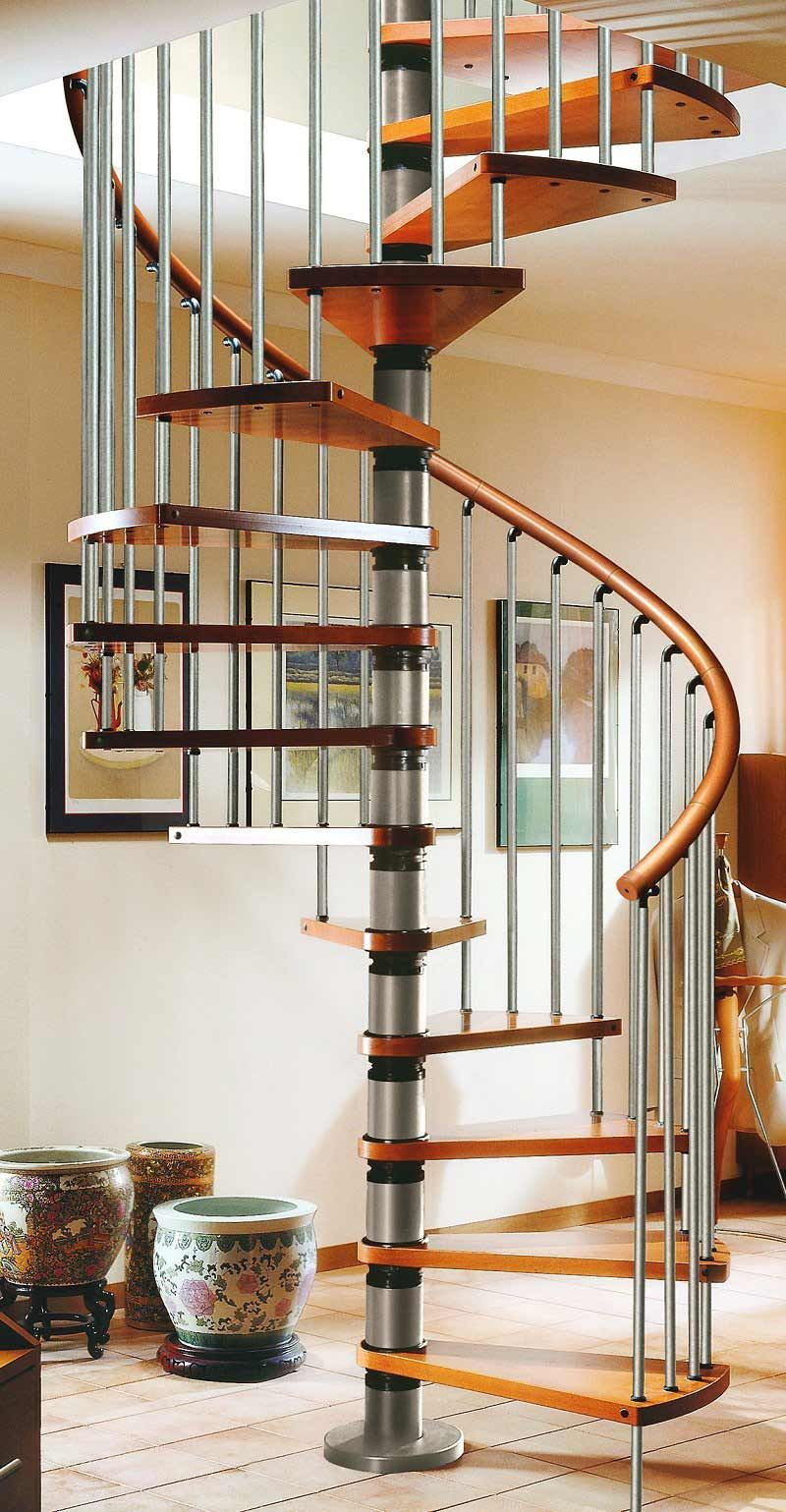 Gamia Deluxe Silver Spiral Staircase 1400Mm Dia With Real Wood | Deluxe Stair And Railing | Stainless Steel Stairs | Houzz | Barclay Hollywood | Mg Alloy | Interior Stair