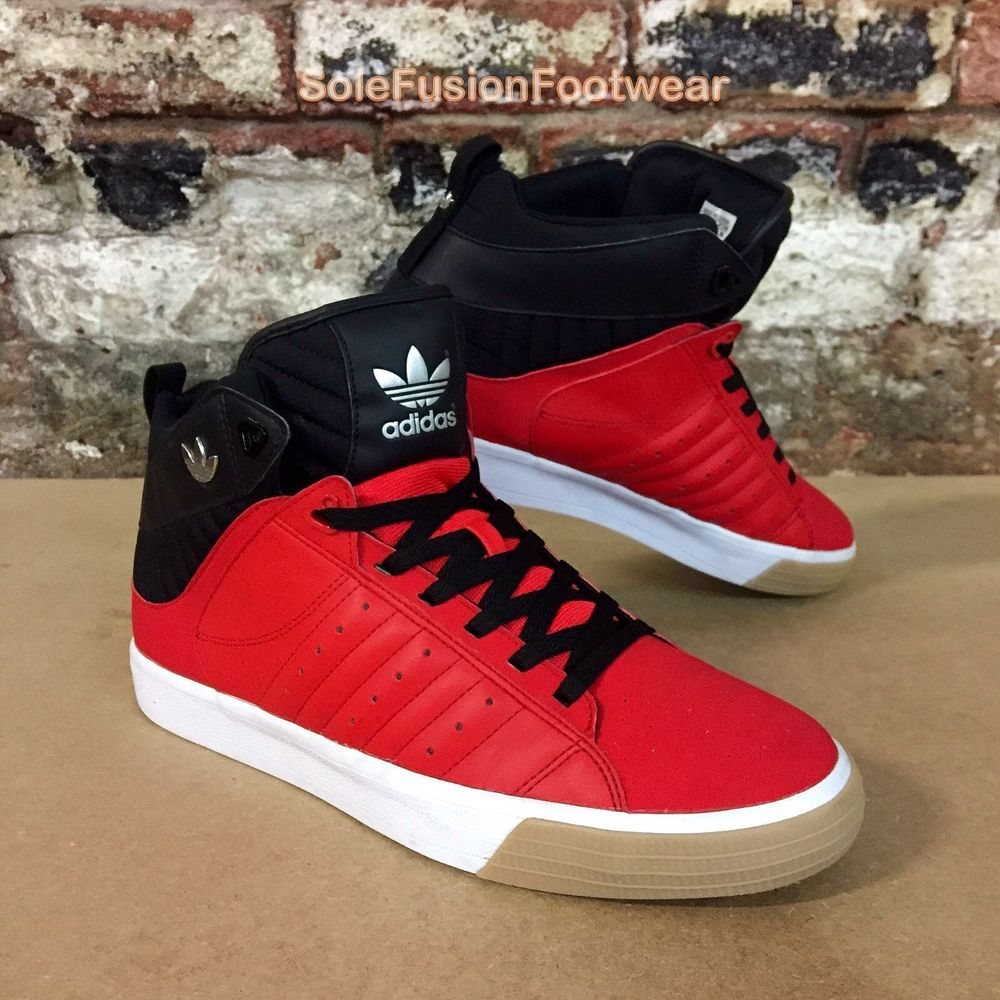 Leather sneakers · adidas Mens Freemont Mid Trainers Red/Black sz 11.5  Leather Sneaker US 12 46 2