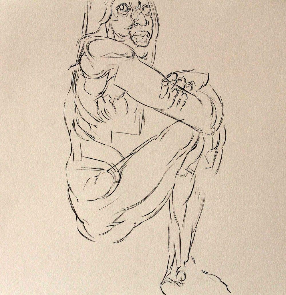 OSCAR DE LAS FLORES, SIN TITULO ( MUJER DESNUDA EN CUCLILLAS ), 37.5X 35.7 cm, Tinta china sobre papel de algodon, 2014