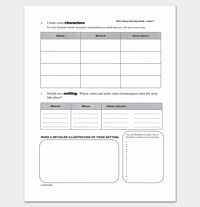 Short Story Outline Worksheet  Outline Templates  Create A