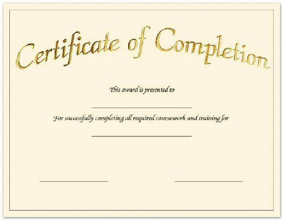 Create free certificate completion fill in the blank Pinterest - certificate of completion of training template