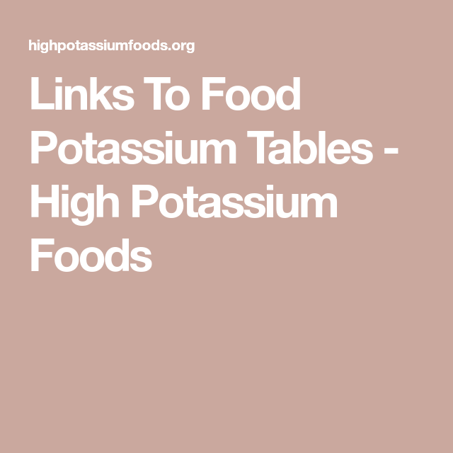 Links To Food Potassium Tables