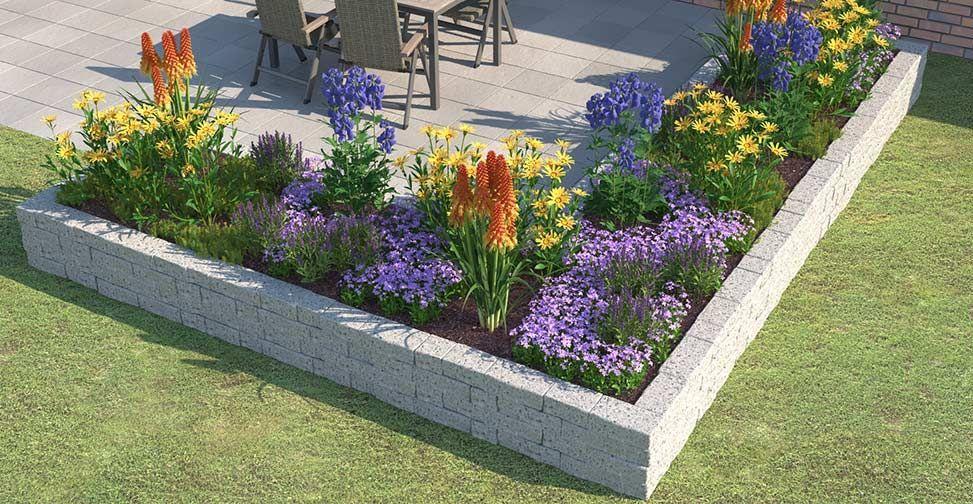 Beet Ganz Einfach Anlegen Gestalten Obi Gartenplaner An L Shaped Bed With Plants Such As Aconite In 2020 Hanging Garden Garden Planters Garden Planner