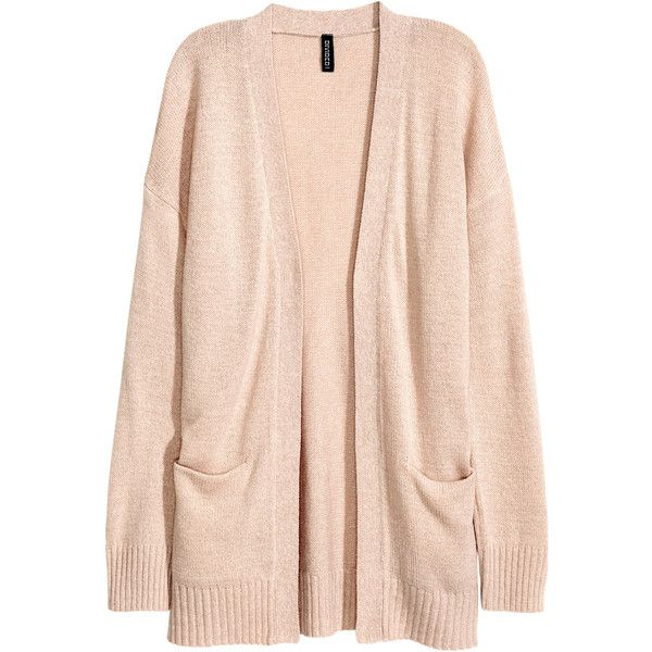 H&M Knit Cardigan $14.99 ($15) ❤ liked on Polyvore featuring tops, cardigans, h&m, jackets, outerwear, h&m cardigan, pink top, h&m tops, cardigan top and long sleeve knit cardigan