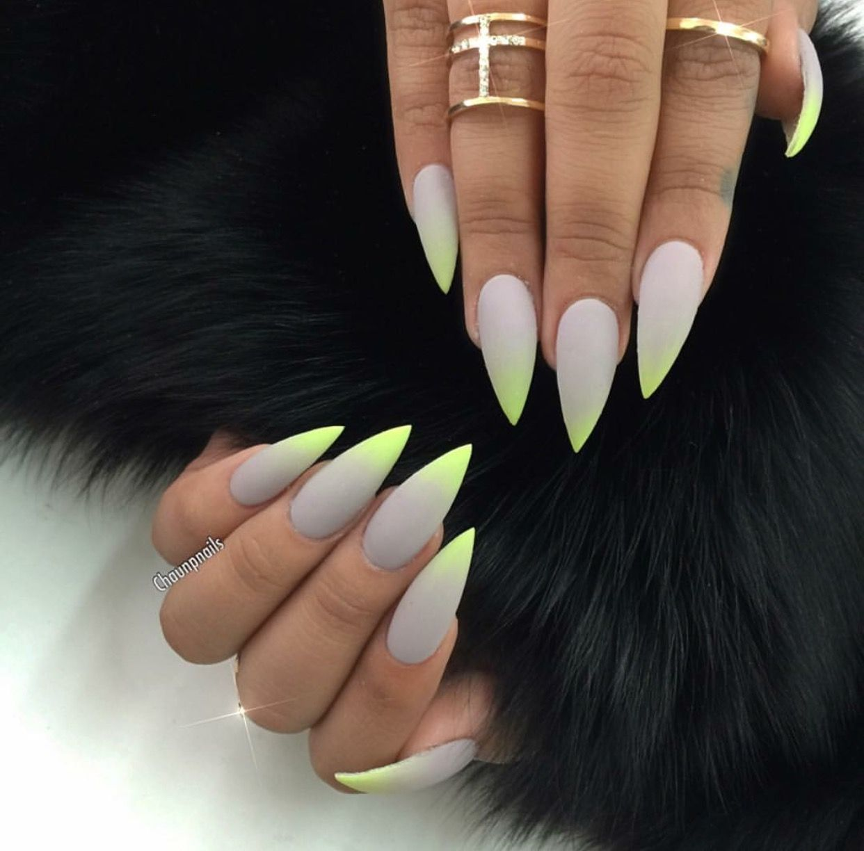 Matte Grey & Green Ombre Stiletto Shape Acrylic Nails ...