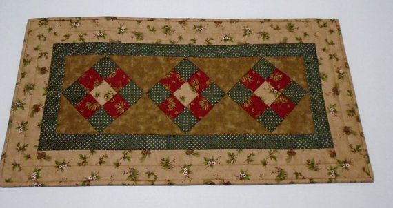 Country Quilted Table Runner Winter Quilted by ForgetMeNotQuilteds