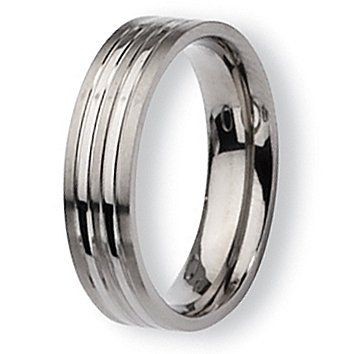 Chisel Grooved Brushed and Polished Titanium Ring (6.0 mm) - Sizes 6-13.5