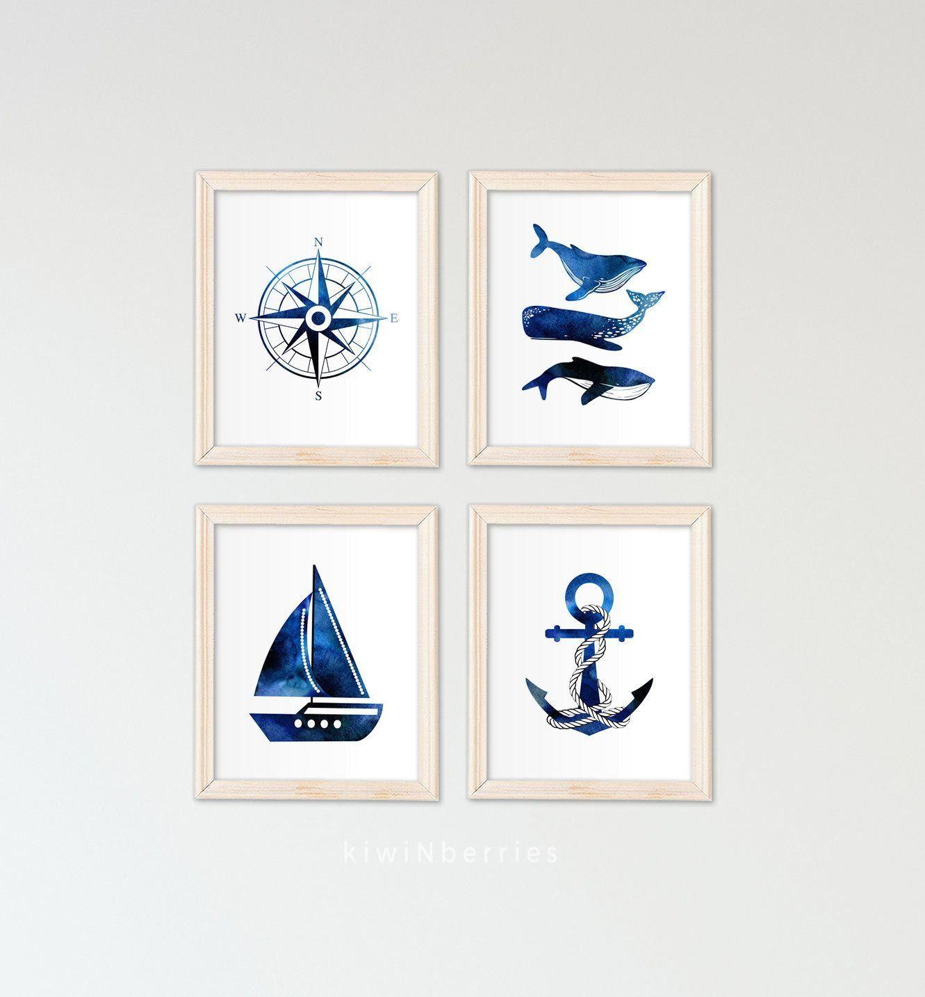 Baby Boy Nursery Decor Nautical Wall Art Whales Boat Anchor Navy Blue Watercolor Art Prints Boy S W Nautical Wall Art Boy Wall Art Baby Boy Nursery Decor
