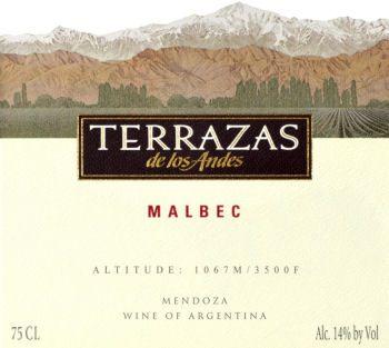 Terrazas De Los Andes Malbec Mendoza Argentina Wine