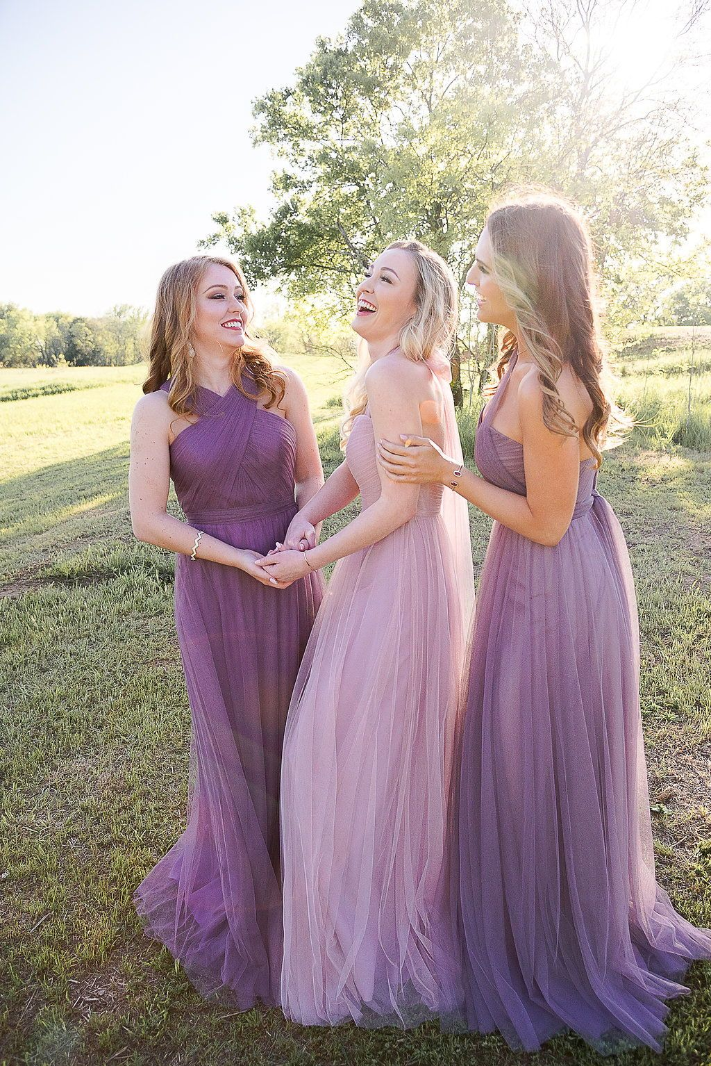 Purple Ombre Bridesmaid Dresses In Soft Tulle Mismatched