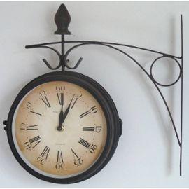 horloge de gare murale port clocks 33x35cm pendule bois noir vitre l 39 h ritier du temps faire. Black Bedroom Furniture Sets. Home Design Ideas