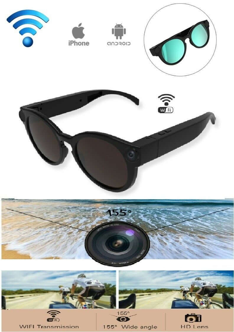 Smart WIFI Camera Sun Sport Glasses IOS and ANDROID K11 Wide Angle TF Card USB. USD 56.48 in stock #wideangle