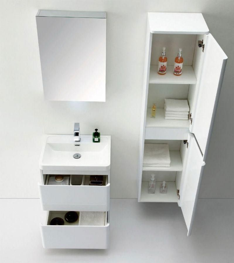Ordinaire Zenit Wall Mounted Tall Bathroom Cabinet White Gloss