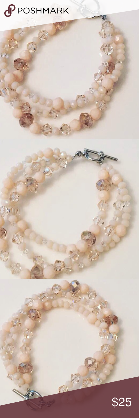 Champagne Beaded Bracelet Bracelet: three strands of clear & champagne crystal beads & beads in shades of champagne & ecru MADE Jewelry Bracelets