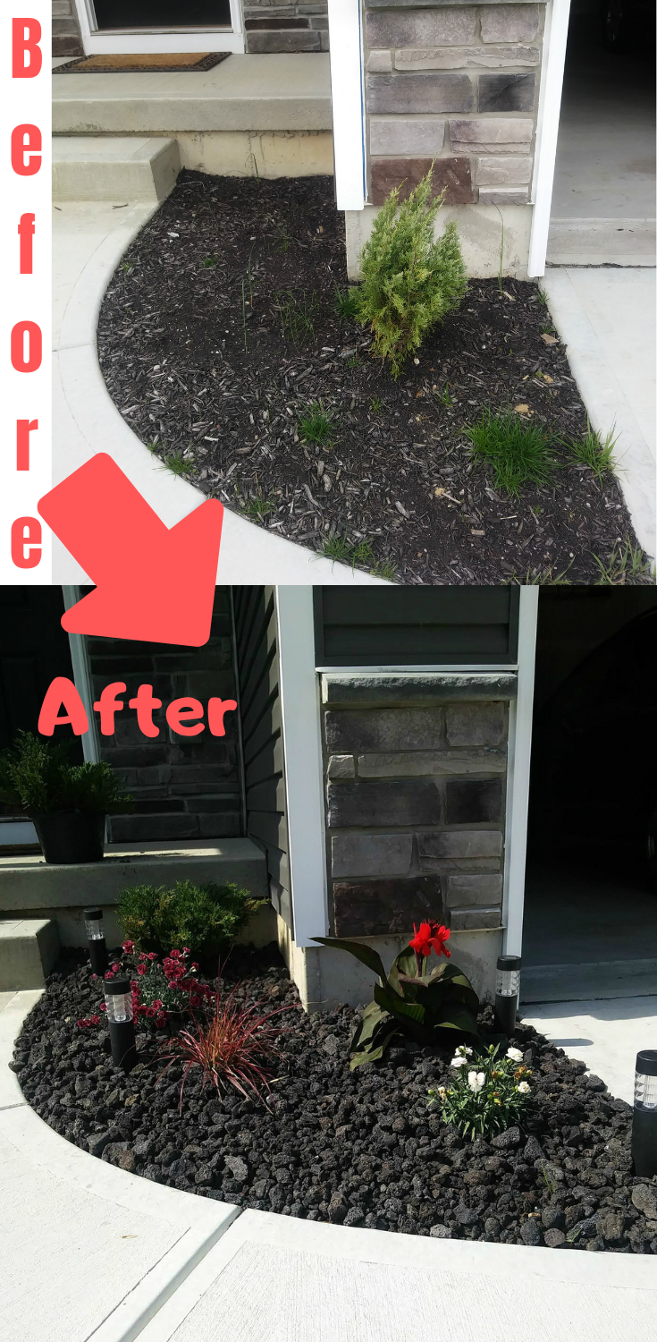 Easy Flower Bed Idea With Perennial Flowers And Black Lava Rock Infrontofhouse Easy Diy Landsca Rock Flower Beds Simple Flower Bed Ideas Flowers Perennials