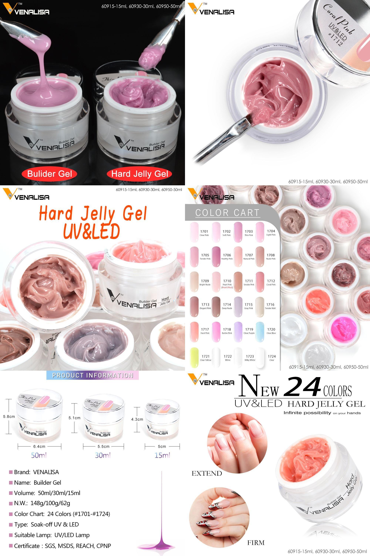 Visit to Buy] VENALISA 15ml LED Hard Jelly Gel 24 Color CANNI Nail ...