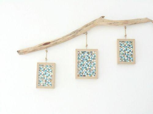 Porte-photos en bois flotté - cadres photos suspendus - pêle mêle