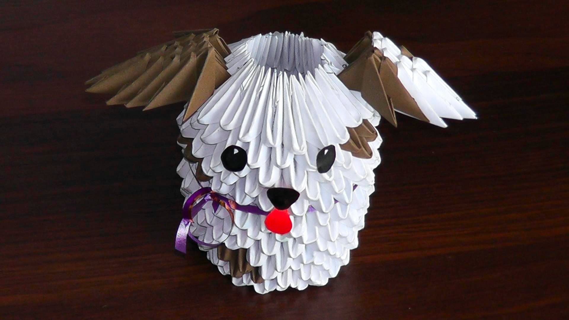 small resolution of 3d origami dog puppy assembly diagram tutorial
