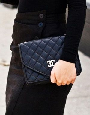 Black quilted-leather Chanel Clutch